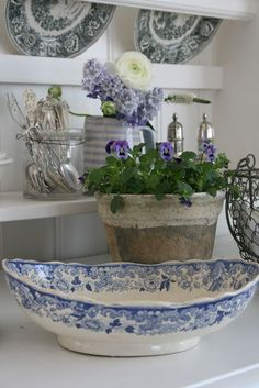 Blue-and-white decor, china cabinet styling. gsfrenchshabbylife
