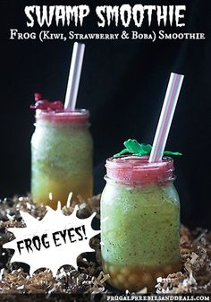 Frog Smoothie with Eyeballs: Kiwi, Strawberry and Boba {Healthy Food for Halloween}