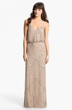 """Free shipping and returns on Adrianna Papell Embellished Blouson Gown at Nordstrom.com. <p><B STYLE=""""COLOR:#990000"""">Pre-order this style today! Add to Shopping Bag to view approximate ship date. You'll be charged only when your item ships.</b></p><br>Scalloped lines of iridescent, metallic beads and sequins accentuate the sheer-mesh overlay of a floor-length gown."""