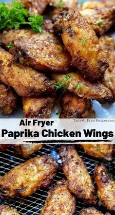 These Air Fryer Paprika Chicken Wings are simple, flavorful and perfectly crisp on the outside. Air fried chicken wings are the best! This recipe is great for a quick dinner or a party appetizer. Air Fryer Recipes Low Carb, Air Fryer Dinner Recipes, Meat Appetizers, Easy Appetizer Recipes, Simple Appetizers, Fondue Recipes, Oven Recipes, Turkey Recipes, Yummy Recipes