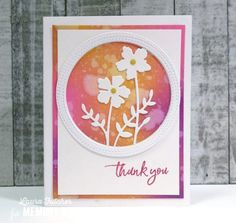 Karte von Memory Box: Floral Thank You Card Memories Box, Kunst Shop, Collage, Thank You Cards, Diy And Crafts, Stitch, Handmade Cards, Frame, Floral