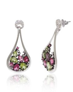 Gemstone Earring, Dangling White Gold, Pink Tourmaline, Diamonds
