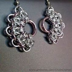 Pink Half Moon Chainmaille Earrings