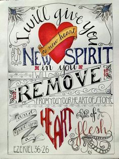 "Scripture - Ezekiel 36:26 ""I will give you a new heart..."" #BybelBeloftes #favouriteverses #Fromthe♡"