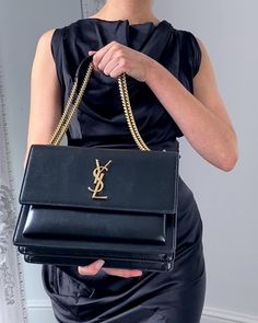 YSL Saint Laurent Sunset Medium Bag Black and Gold - Handbagholic Stylish Handbags, Fashion Handbags, Fashion Bags, Ysl Handbags, Fashion Outfits, Black Handbags, Cool Outfits, Luxury Purses, Luxury Bags