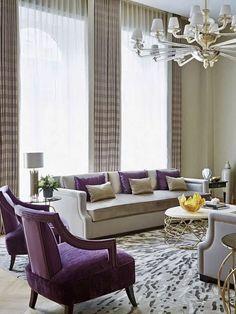 Elegant beige living room decor with purple chairs purple decor purple sofa