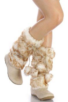 Amazon.com: Beige Mukluks Super Furry Pom-pom Snow Winter Flat Boots: Shoes