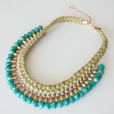 LEELA - Fat Booty! The statement necklace in turquoise is the ultimate centerpiece of COOL and stylish. Good Vibrations guaranteed. 49.90