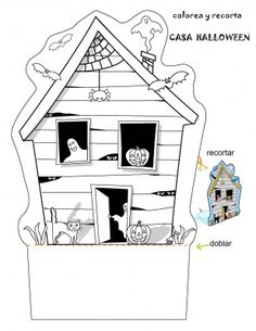 Actividades Halloween Colorea y recorta la casa de miedo