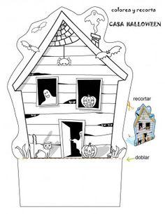 Creare una casa fantasma per Halloween - Worksheets: How to Make a Haunted House Casa Halloween, Halloween Haunted Houses, Halloween Games, Halloween Activities, Halloween Projects, Holidays Halloween, Halloween Decorations, Preschool Halloween, Halloween Worksheets