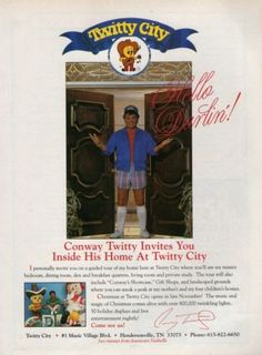 CONWAY TWITTY -- 1993 Magazine Print Ad Best Country Music, Country Music Artists, Conway Twitty, Print Magazine, Print Ads, Tennessee, Songs, Baseball Cards, City