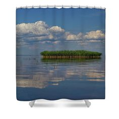 Shower curtain with motive of lake and reed island. For more photos and materials chcek my website Shower Curtain Rings, Shower Curtains, Nature Artists, Nature Artwork, Curtains For Sale, Botanical Art, Great Artists, Art For Sale, Painted Rocks