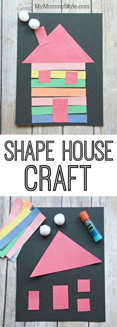 House craft made out of shapes for preschoolers. A great craft after reading the book The Little House or learning about animal habitats or learning about shapes. It's a fun and easy preschool craft that doesn't need many materials.