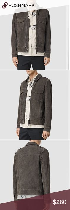 "All Saints Oakley Suede Jacket in Anthracite Gray Crafted from goat suede, this jacket from ALLSAINTS is a heritage-inspired casual classic. Button epaulettes Front zip with leather zip pull Flapped chest pockets with metallic button, two hand pockets Button cuffs Model: Waist-30"", Chest-38"", Height-6'1""; wearing: topM/trouser30. inseam: 32"" Goat leather Dry clean Imported All Saints Jackets & Coats Lightweight & Shirt Jackets"