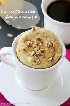 {Gluten and Dairy Free} Pear and Almond Mug Cake - The Sweet {Tooth} Life