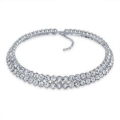 Bling Jewelry Rhodium Plated Bezel Set Clear Crystal Bridal Choker Necklace *** For more information, visit image affiliate link Amazon.com