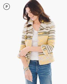 Chico's Women's Petite Aztec Jaquard Moto Jacket, Glistening Yellow, Size: 3P (16P/18P XL)