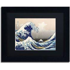 Trademark Fine Art The Great Kanagawa Wave Canvas Art by Katsushika Hokusai, Black Matte, Black Frame, Size: 16 x 20