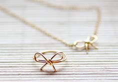 DIY a Wire Bow Ring or Necklace // Handcraft her a little reminder of this, or that.