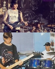2 questions. How did such a dorky kid turn into such a sexy guitar player? And why is Synyster Gates playing bass?