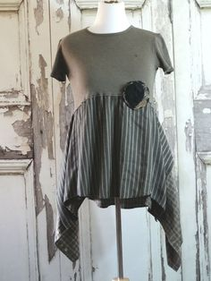 Brown and Black Upcycled Tunic Top Lagenlook by CuriousOrangeCat