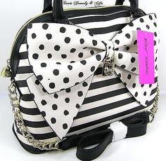 Betsey Johnson Purse Dome Satchel Shoulder Crossbody Bag Bow Nanza Black NWT