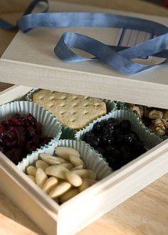 .DIY: Wood box from craft store, cute cupcake liners, fill with little treats, candies, crackers, cookies, chocolates, whatever you like! Endless possibilities!