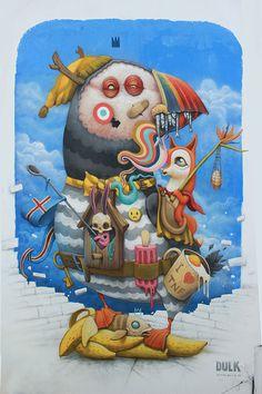 Antonio Segura Donat #art #illustration #streetart #graffiti #puffin #bird #animal #painting #surreal #fantastic