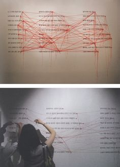 List of Something - Jin Jung spins a web of words across the wall: shuffling through examples of personal poetry, the communication designer decided to gauge and seek the public's reaction to his work by visual means… the public exhibition puts these expressions up for debate and invites visitors to make their own threaded connections.