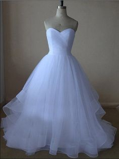 White Prom Dresses,Princess Prom Dress,Ball Gown Prom GownTulle Evening Gowns,2016 Party Gowns