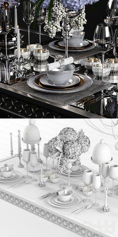 3d модели: Посуда - Sophie Mirrored Dining Table_set