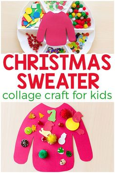 This ugly Christmas sweater craft is a fun collage art activity for kids to do this Christmas! via You have to do this ugly Christmas sweater collage craft project with your kids! It is so much fun! This Christmas art project is sure to be a hit! Daycare Crafts, Classroom Crafts, Toddler Crafts, Preschool Crafts, Craft Kids, Craft Art, Preschool Winter, Preschool Learning, School Classroom