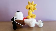 Crochet Amigurumi Snoopy and Woodstock Material: Soft cotton yarn stuffed with polyester fiber fill This item is made to order Dimension: Snoopy (18cm) ; Woodstock (11cm) This snoopy is handmade by myself from a pattern by getfun and the woodstock from a pattern by Amanda L. Girao