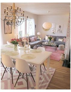 Shabby Chic Dining Room, Chic Living Room, Living Room Colors, Home Living Room, Apartment Living, Living Room Designs, Living Spaces, Chic Apartment Decor, Living Area