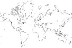 World outline india centered map world maps free printable maps image for world map black and white printable gumiabroncs Gallery