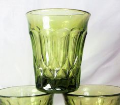 "Set of 6 Noritake Perspective Green Glass Tumblers ~ 3 1/2"" Juice / rocks glass ~ 2 set available ~ Goblets and Large tumblers available too by EclecticJewells on Etsy"
