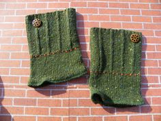 Wool Recycled Sweater Boot Cuffs Green Upcycled Boot Cuffs sweater boot cuff  Boot cuff Boot Sock boot cuff with wood button