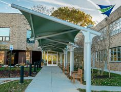 Walkway canopies for schools and office buildings. TensileSystems.com