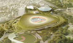 Japan's sport council unveiled 11 potential designs for its new national stadium, the first-round cut of a competition chaired by Tadao Ando. Futuristic Architecture, Amazing Architecture, Architecture Design, Architecture Drawings, Arquitectos Zaha Hadid, Zaha Hadid Architects, Soccer Stadium, Football Stadiums, Tadao Ando