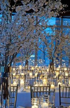 Magical setting # tall arrangements # lots of twinkle lights