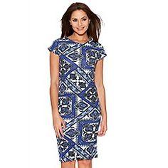 Quiz - Royal Blue Tile Print Midi Dress