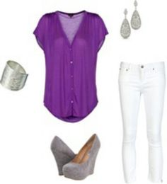 Love the purple shirt with white skinny jeans Purple Shirt Outfits, Purple Shirts, Grey Outfit, Casual Outfits, Cute Outfits, Fashion Outfits, Jean Outfits, Passion For Fashion, Love Fashion
