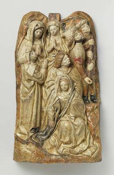 Anonymous | Bezwijming van Maria, Anonymous, c. 1470 | In een rotsachtig landschap zit op de voorgrond Maria ineengezonken en wordt ondersteund door Johannes. Achter en naast hen de drie heilige vrouwen, die hun handen in aanbidding gevouwen hebben. De vrouw links op de voorgrond en Johannes zien omhoog (naar het kruis). Rechts bovenaan helpt een soldaat de blinde Longinus de lans te richten. In het midden bovenaan de aanzet voor het kruis van een der moordenaars. Maria draagt over haar…