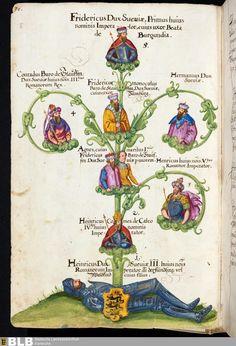 Stauferstammbaum  In einer lateinischen Beschreibung des Bistums Konstanz 1689 (als Verfasser wird Jakob Mennel genannt), BLB Karlsruhe Cod. 662.