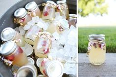 We put lemonade in Kerr jars along with fresh strawberries and lemons for the guest to drink and take home as a gift.