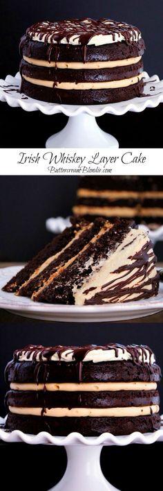 The Tipsy Whiskey Layer Cake - layers of whiskey infused chocolate cake, Irish cream buttercream & spiked mascarpone frosting!   ButtercreamBlondie.com