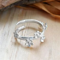 Martha Jackson Sterling Silver Delicate Forget Me Not Ring, Adjustable