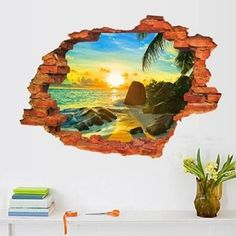 Fashion nature 3D sticker Wall Sticker 59*89CM beach mural Home Decor wall decals for kids room landscape poster $9.59