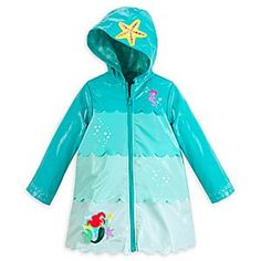 Disney Ariel Rain Jacket for Girls   Disney StoreAriel Rain Jacket for Girls - Keep your little mermaid dry on land with this Ariel Rain Jacket for Girls. The shiny outer layer features waves of different colored panels with scalloped edges lapping over each, while the Ariel appliqu� sparkles with sequins.