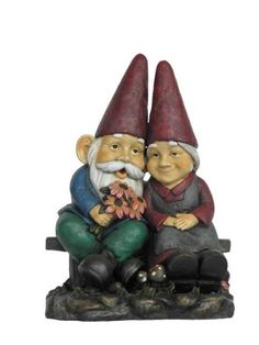 All Line Garden Gnome Old Couple Holding Flower Statue on Bench 17Inch -- More info could be found at the image url. (This is an affiliate link) #GardeningAccessories